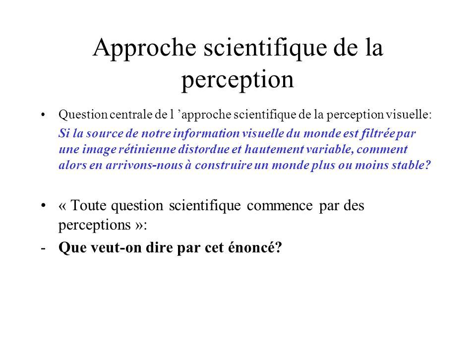 Approche scientifique de la perception Question centrale de l approche scientifique de la perception visuelle: Si la source de notre information visue