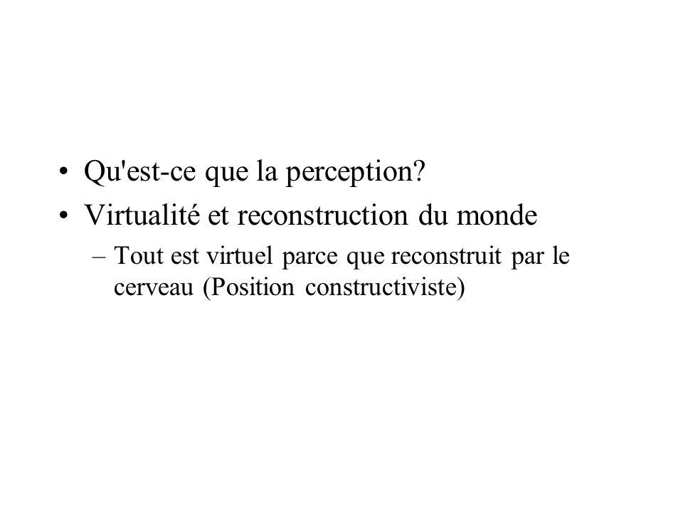 Qu'est-ce que la perception? Virtualité et reconstruction du monde –Tout est virtuel parce que reconstruit par le cerveau (Position constructiviste)