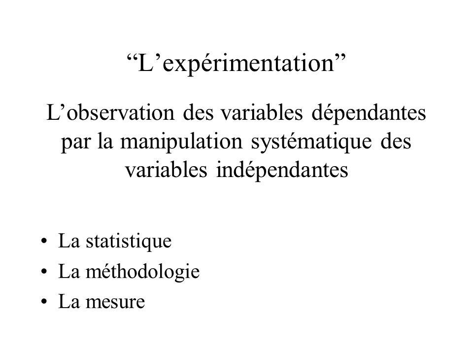 Lexpérimentation La statistique La méthodologie La mesure Lobservation des variables dépendantes par la manipulation systématique des variables indépe
