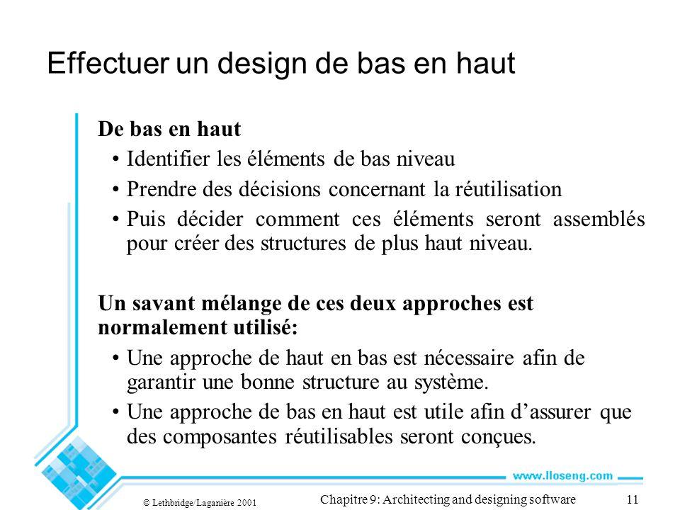 © Lethbridge/Laganière 2001 Chapitre 9: Architecting and designing software11 Effectuer un design de bas en haut De bas en haut Identifier les élément
