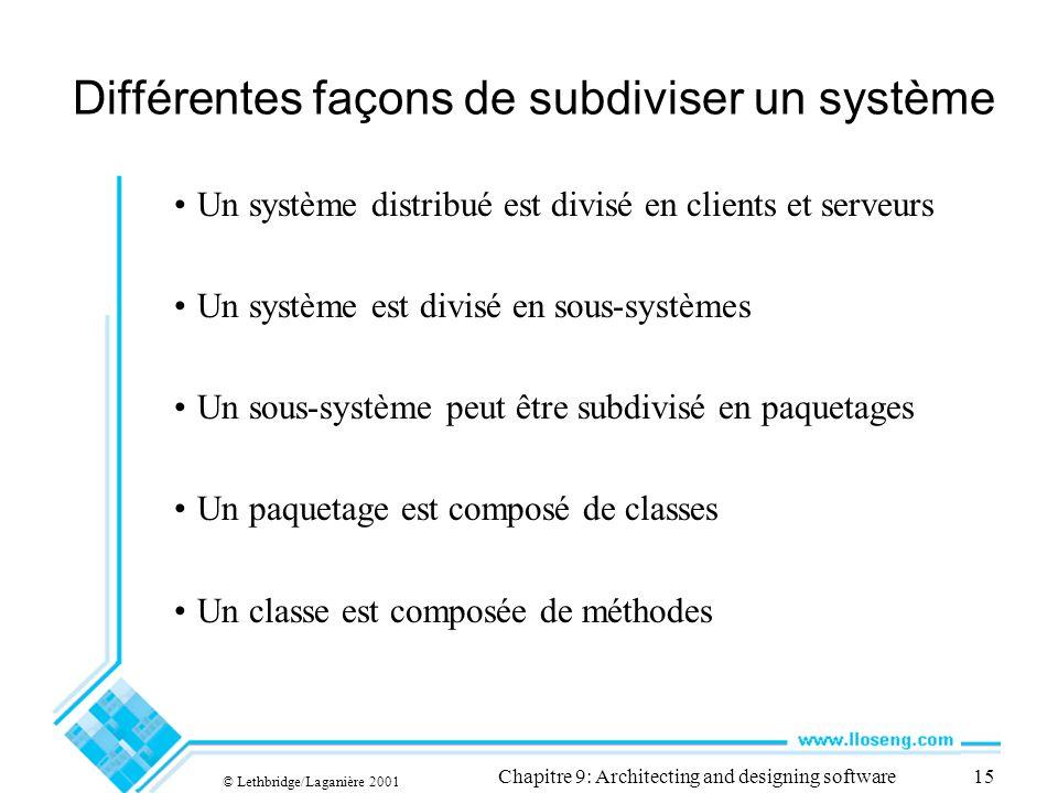 © Lethbridge/Laganière 2001 Chapitre 9: Architecting and designing software15 Différentes façons de subdiviser un système Un système distribué est div