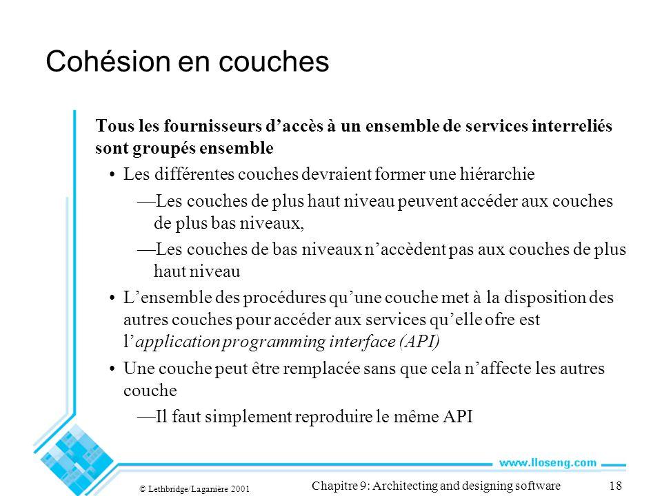 © Lethbridge/Laganière 2001 Chapitre 9: Architecting and designing software18 Cohésion en couches Tous les fournisseurs daccès à un ensemble de servic