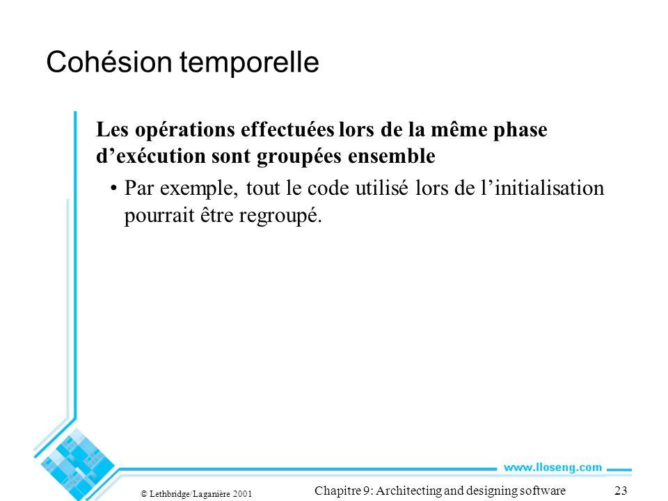 © Lethbridge/Laganière 2001 Chapitre 9: Architecting and designing software23 Cohésion temporelle Les opérations effectuées lors de la même phase dexé