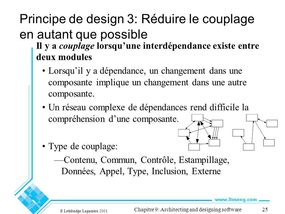 © Lethbridge/Laganière 2001 Chapitre 9: Architecting and designing software25 Principe de design 3: Réduire le couplage en autant que possible Il y a couplage lorsquune interdépendance existe entre deux modules Lorsquil y a dépendance, un changement dans une composante implique un changement dans une autre composante.