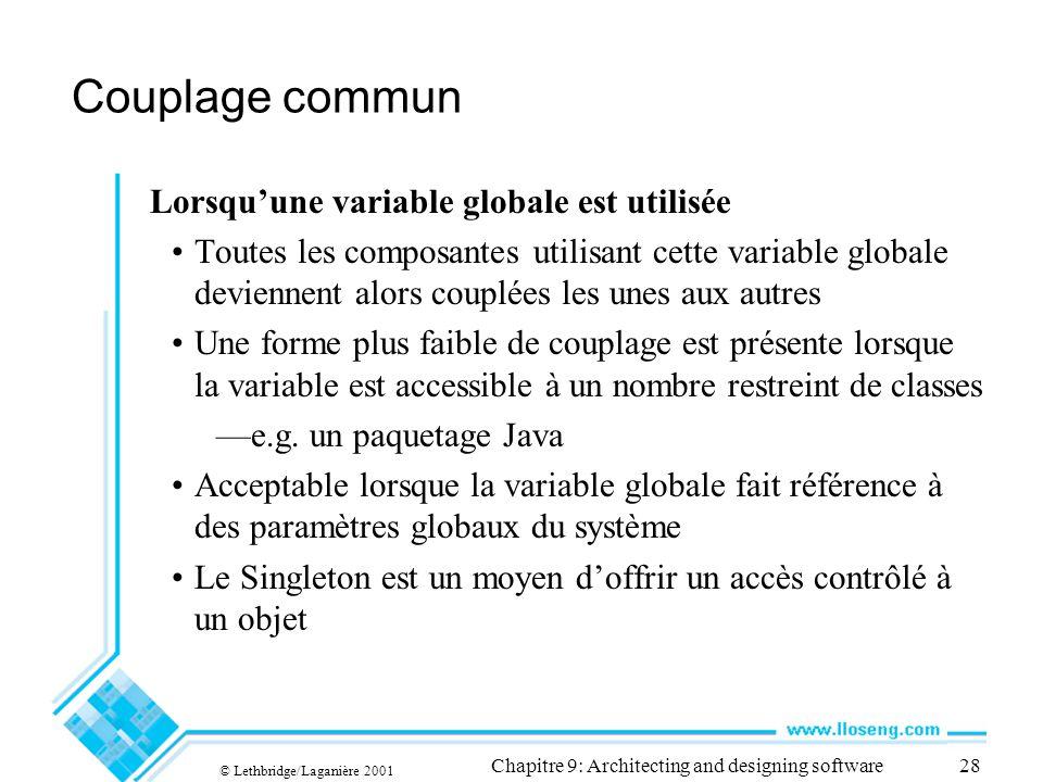 © Lethbridge/Laganière 2001 Chapitre 9: Architecting and designing software28 Couplage commun Lorsquune variable globale est utilisée Toutes les compo