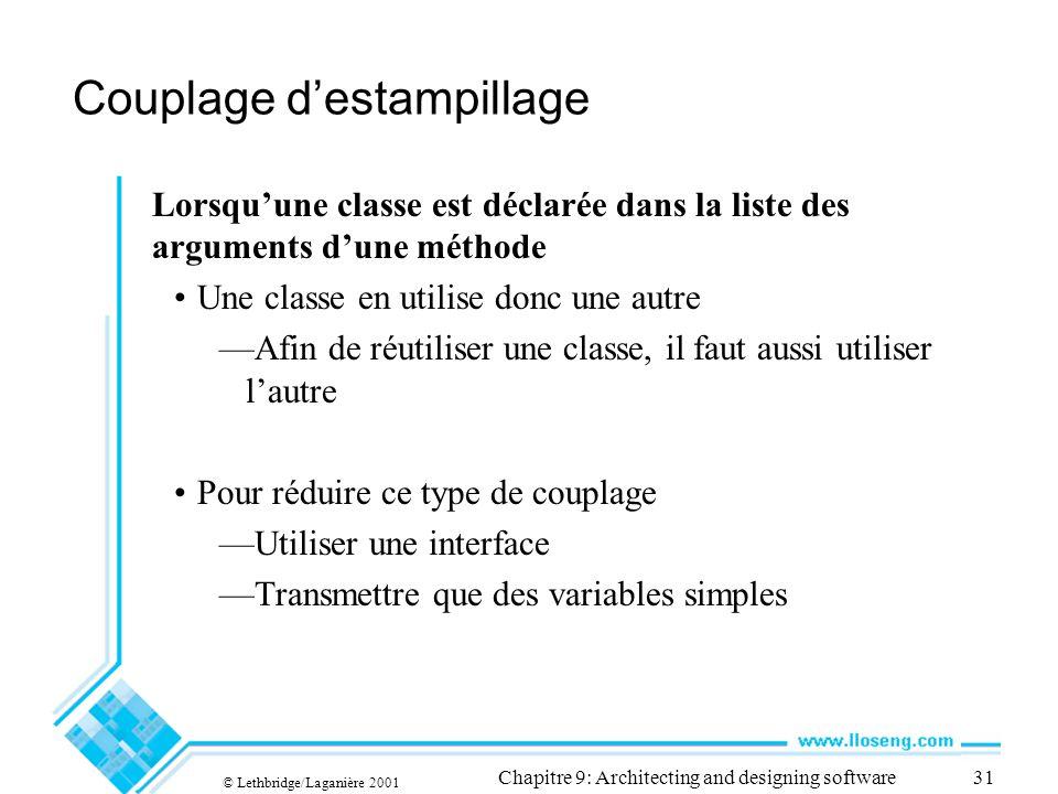 © Lethbridge/Laganière 2001 Chapitre 9: Architecting and designing software31 Couplage destampillage Lorsquune classe est déclarée dans la liste des a
