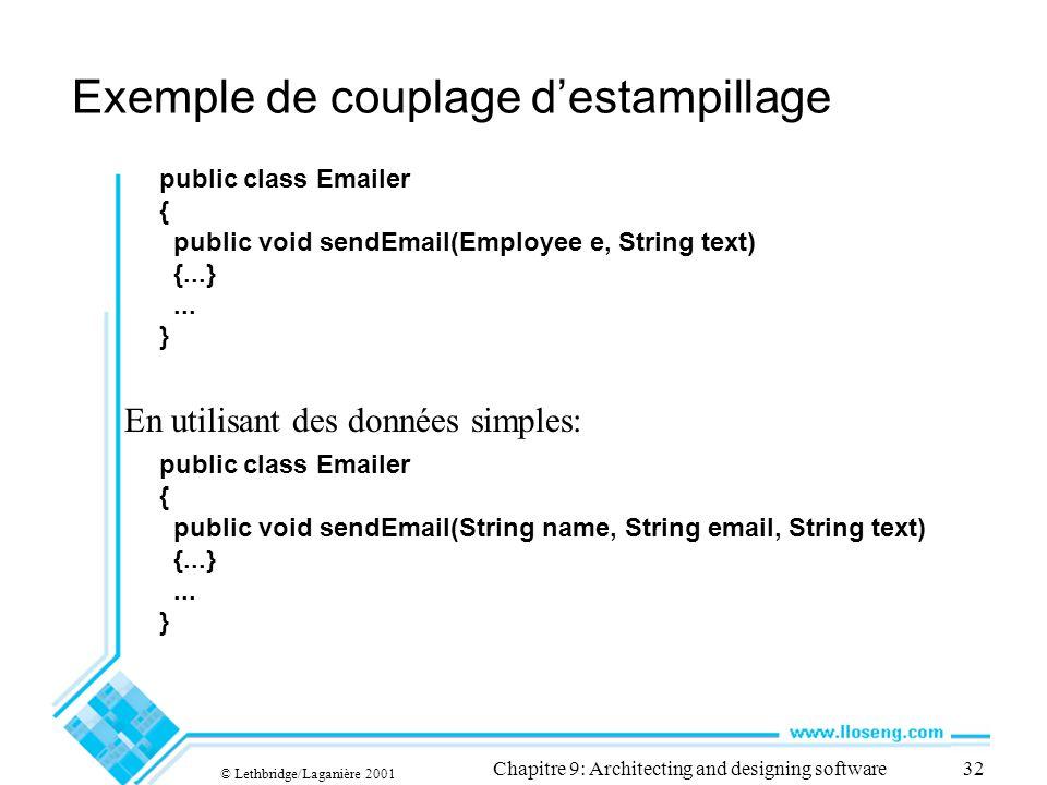 © Lethbridge/Laganière 2001 Chapitre 9: Architecting and designing software32 Exemple de couplage destampillage En utilisant des données simples: public class Emailer { public void sendEmail(Employee e, String text) {...}...