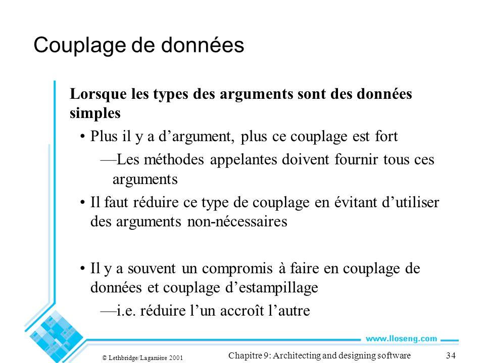 © Lethbridge/Laganière 2001 Chapitre 9: Architecting and designing software34 Couplage de données Lorsque les types des arguments sont des données sim