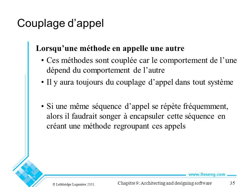 © Lethbridge/Laganière 2001 Chapitre 9: Architecting and designing software35 Couplage dappel Lorsquune méthode en appelle une autre Ces méthodes sont
