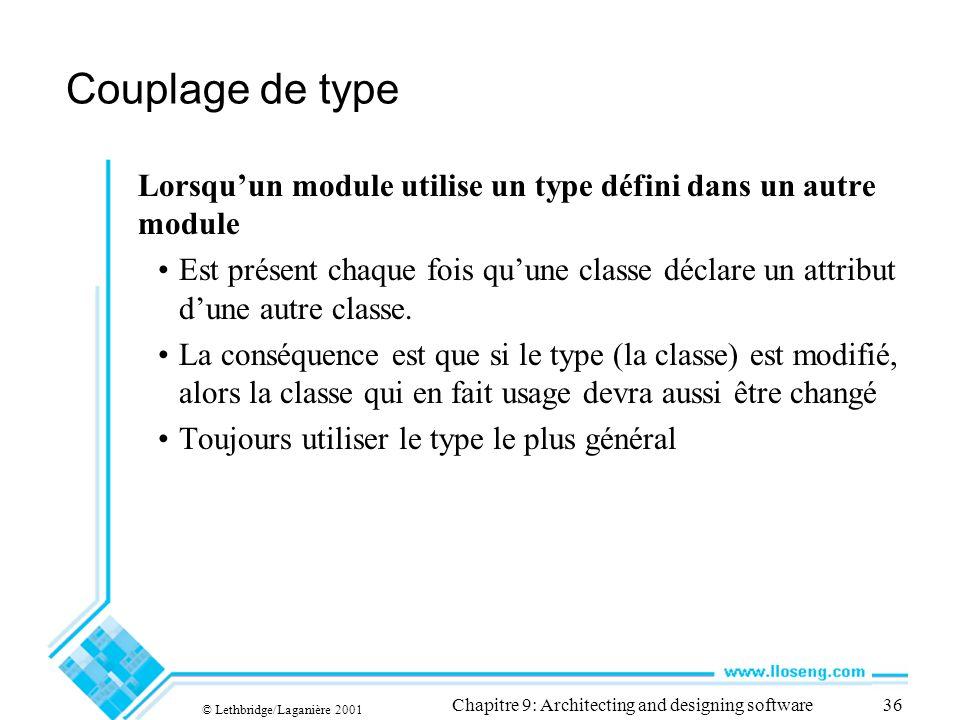 © Lethbridge/Laganière 2001 Chapitre 9: Architecting and designing software36 Couplage de type Lorsquun module utilise un type défini dans un autre mo