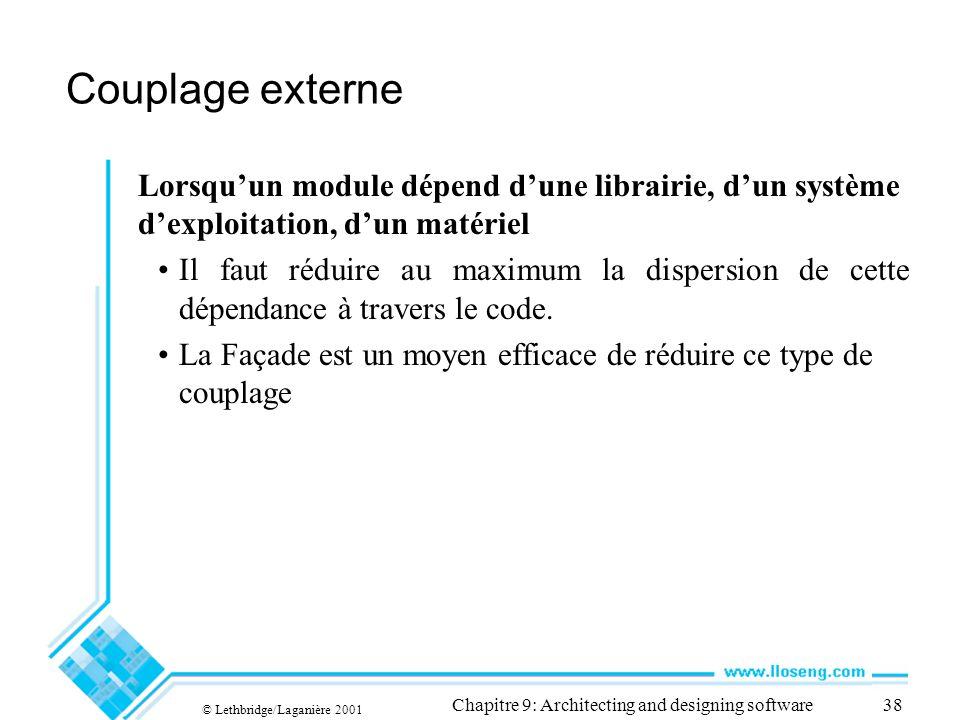 © Lethbridge/Laganière 2001 Chapitre 9: Architecting and designing software38 Couplage externe Lorsquun module dépend dune librairie, dun système dexp