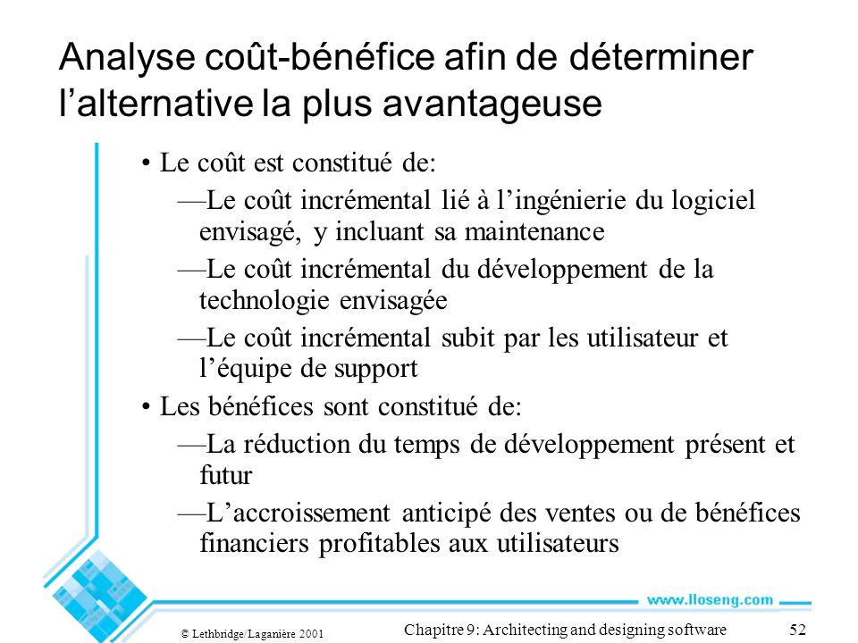© Lethbridge/Laganière 2001 Chapitre 9: Architecting and designing software52 Analyse coût-bénéfice afin de déterminer lalternative la plus avantageus