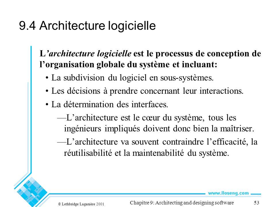 © Lethbridge/Laganière 2001 Chapitre 9: Architecting and designing software53 9.4 Architecture logicielle Larchitecture logicielle est le processus de conception de lorganisation globale du système et incluant: La subdivision du logiciel en sous-systèmes.