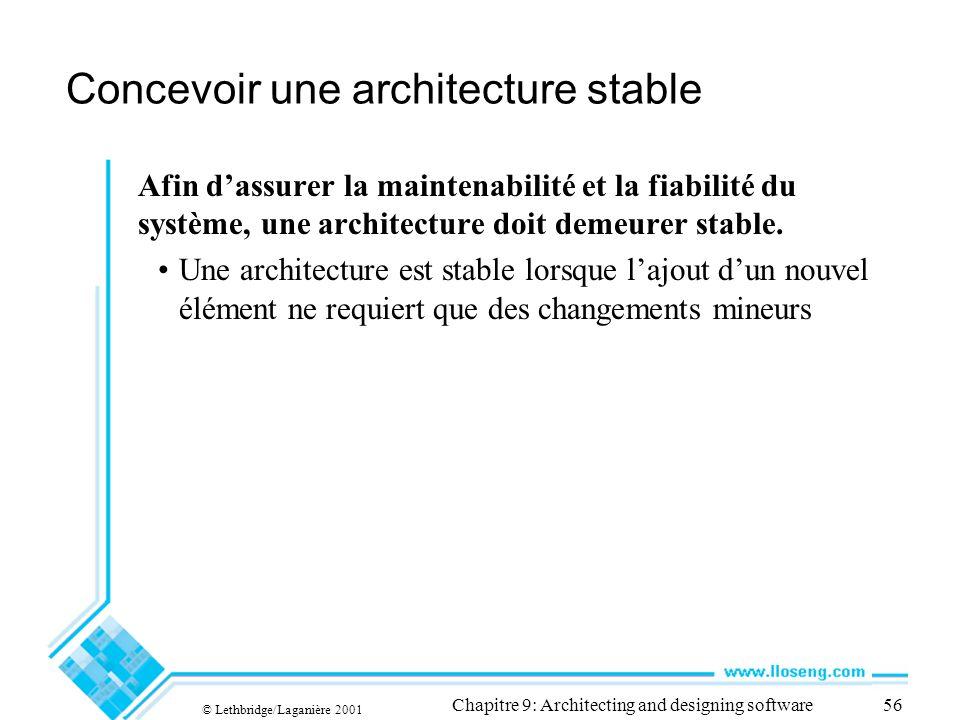 © Lethbridge/Laganière 2001 Chapitre 9: Architecting and designing software56 Concevoir une architecture stable Afin dassurer la maintenabilité et la
