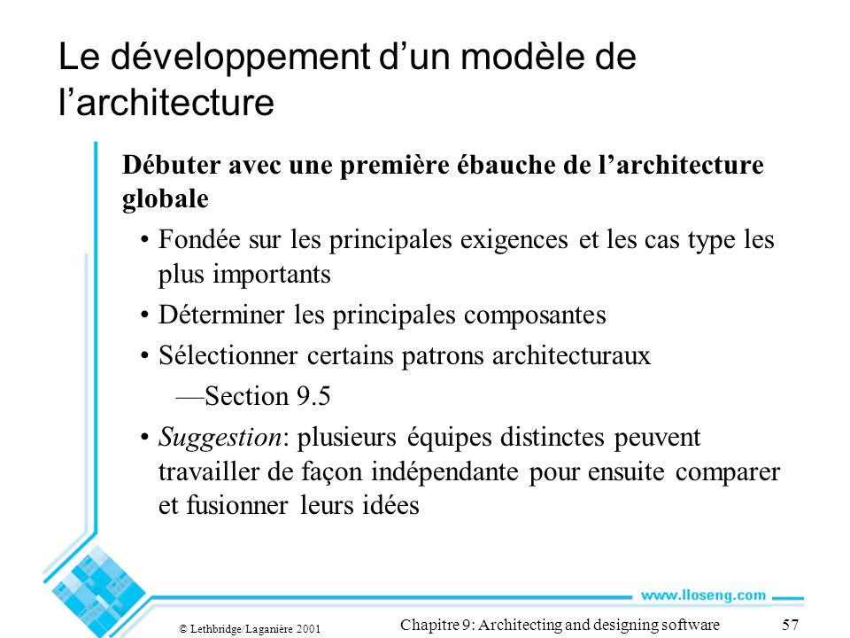 © Lethbridge/Laganière 2001 Chapitre 9: Architecting and designing software57 Le développement dun modèle de larchitecture Débuter avec une première é