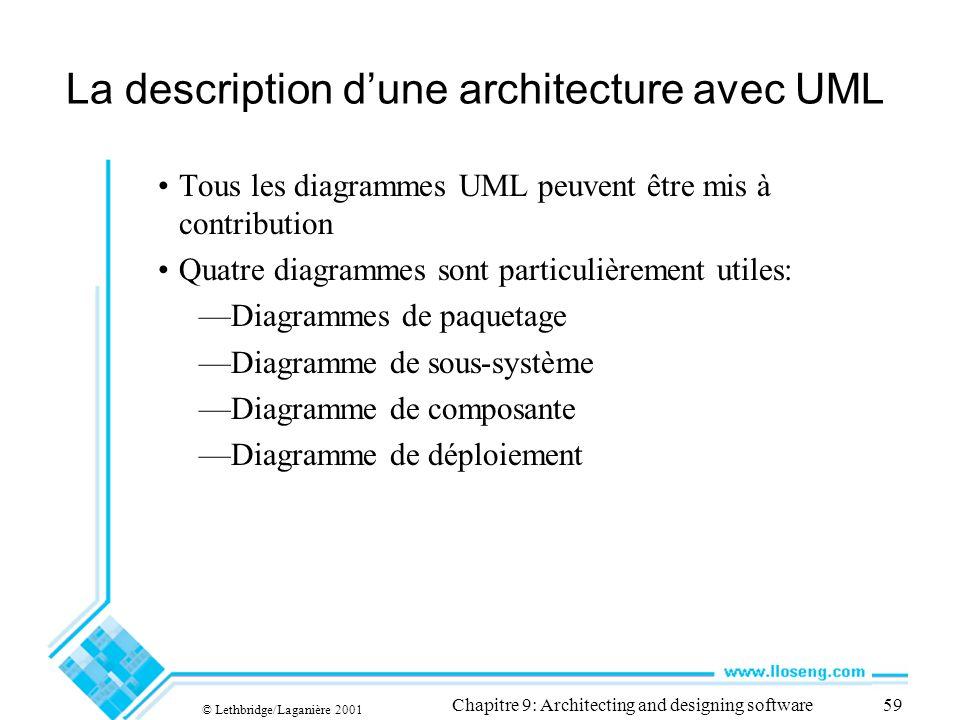 © Lethbridge/Laganière 2001 Chapitre 9: Architecting and designing software59 La description dune architecture avec UML Tous les diagrammes UML peuvent être mis à contribution Quatre diagrammes sont particulièrement utiles: Diagrammes de paquetage Diagramme de sous-système Diagramme de composante Diagramme de déploiement