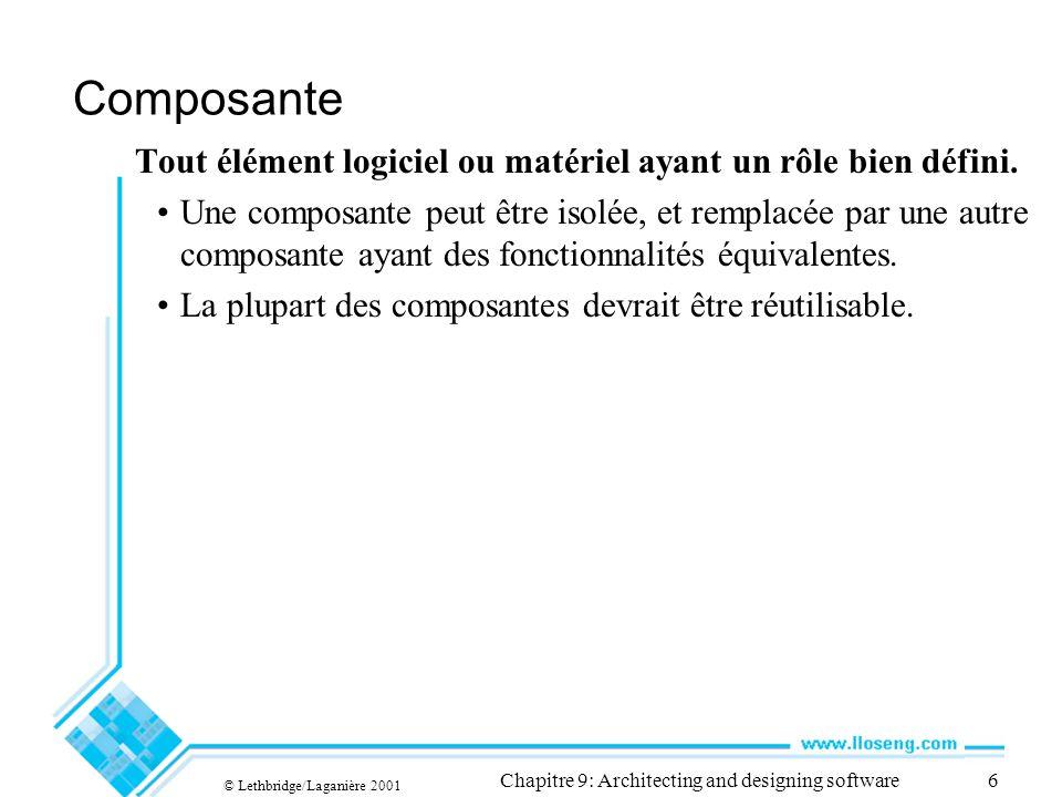 © Lethbridge/Laganière 2001 Chapitre 9: Architecting and designing software6 Composante Tout élément logiciel ou matériel ayant un rôle bien défini. U