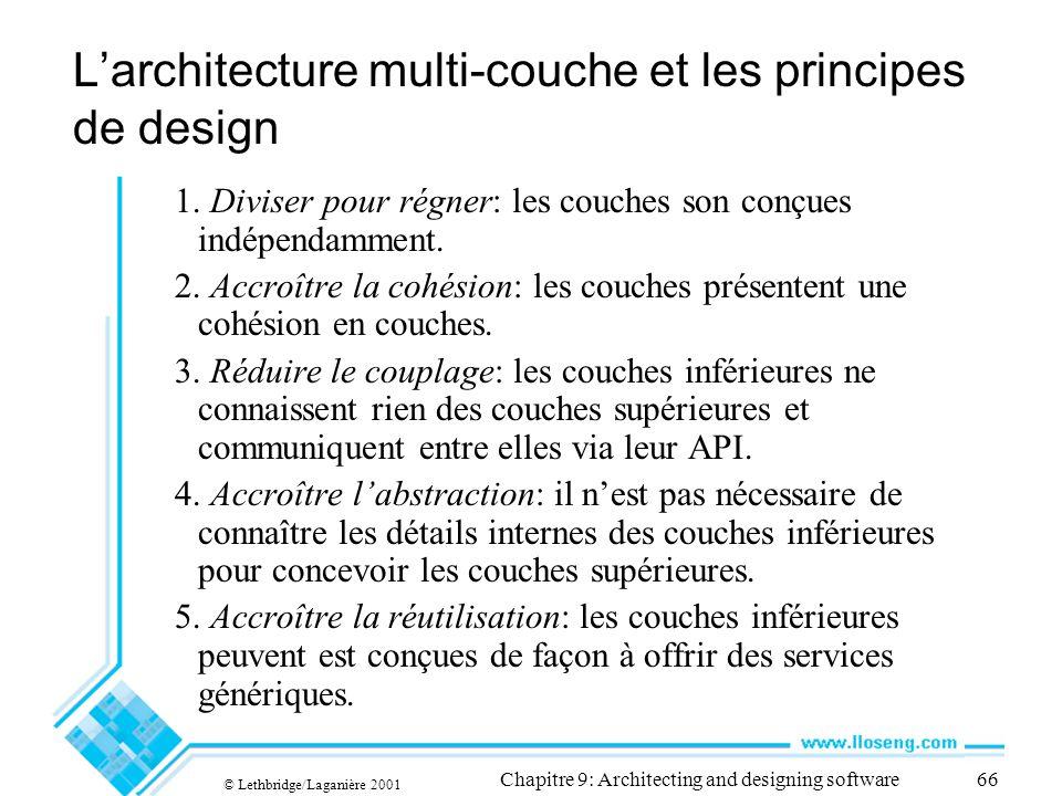 © Lethbridge/Laganière 2001 Chapitre 9: Architecting and designing software66 Larchitecture multi-couche et les principes de design 1. Diviser pour ré