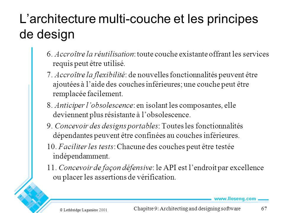© Lethbridge/Laganière 2001 Chapitre 9: Architecting and designing software67 Larchitecture multi-couche et les principes de design 6. Accroître la ré