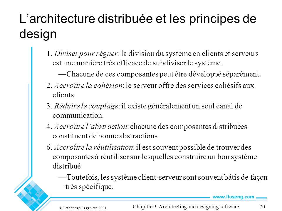 © Lethbridge/Laganière 2001 Chapitre 9: Architecting and designing software70 Larchitecture distribuée et les principes de design 1. Diviser pour régn