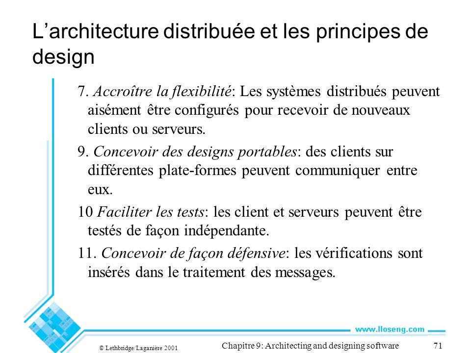 © Lethbridge/Laganière 2001 Chapitre 9: Architecting and designing software71 Larchitecture distribuée et les principes de design 7.