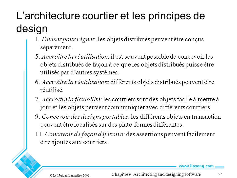 © Lethbridge/Laganière 2001 Chapitre 9: Architecting and designing software74 Larchitecture courtier et les principes de design 1. Diviser pour régner