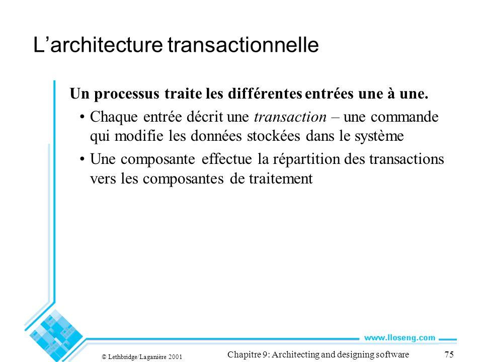 © Lethbridge/Laganière 2001 Chapitre 9: Architecting and designing software75 Larchitecture transactionnelle Un processus traite les différentes entré