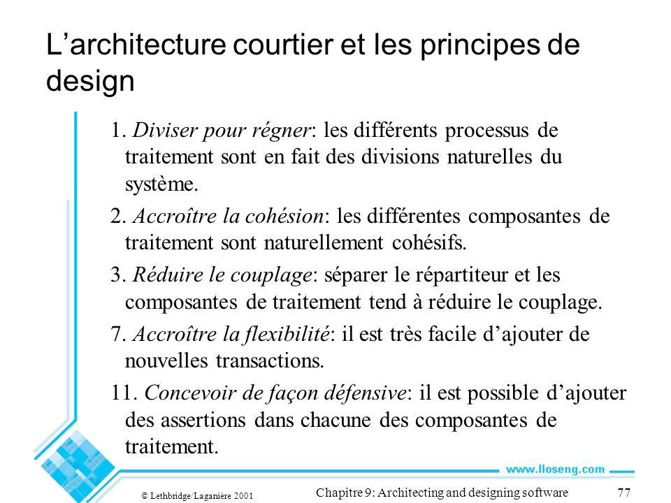 © Lethbridge/Laganière 2001 Chapitre 9: Architecting and designing software77 Larchitecture courtier et les principes de design 1. Diviser pour régner