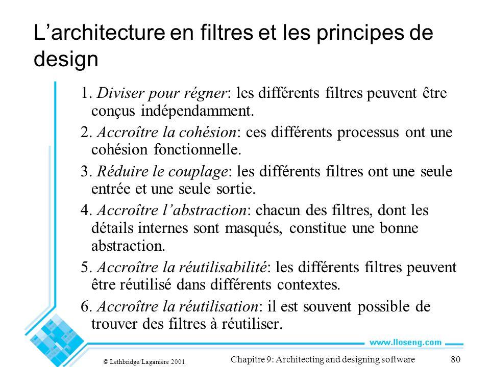 © Lethbridge/Laganière 2001 Chapitre 9: Architecting and designing software80 Larchitecture en filtres et les principes de design 1.