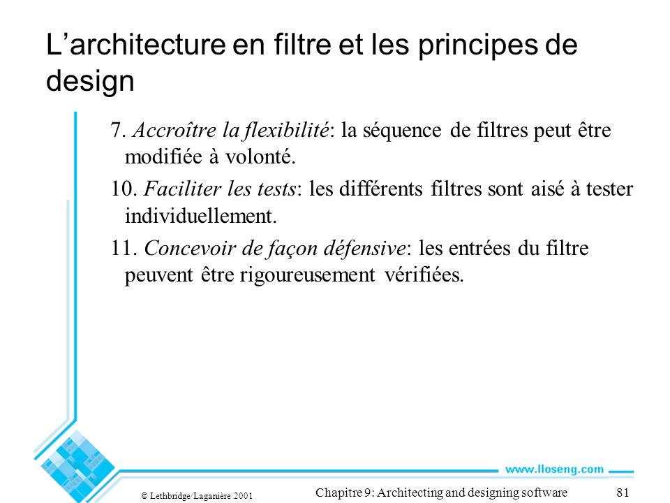 © Lethbridge/Laganière 2001 Chapitre 9: Architecting and designing software81 Larchitecture en filtre et les principes de design 7.