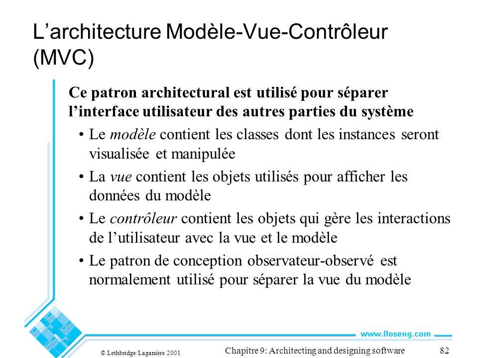 © Lethbridge/Laganière 2001 Chapitre 9: Architecting and designing software82 Larchitecture Modèle-Vue-Contrôleur (MVC) Ce patron architectural est ut