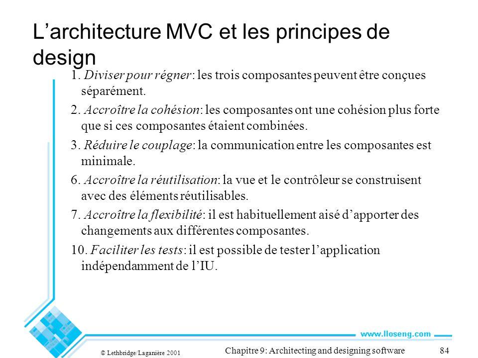 © Lethbridge/Laganière 2001 Chapitre 9: Architecting and designing software84 Larchitecture MVC et les principes de design 1. Diviser pour régner: les