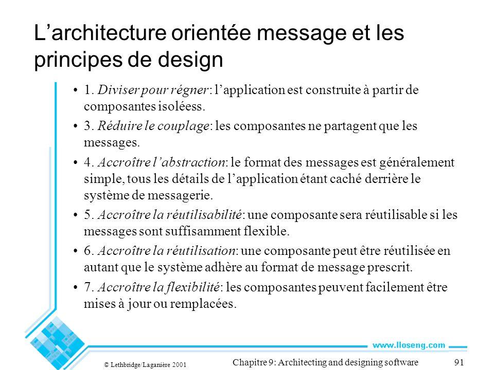 © Lethbridge/Laganière 2001 Chapitre 9: Architecting and designing software91 Larchitecture orientée message et les principes de design 1.