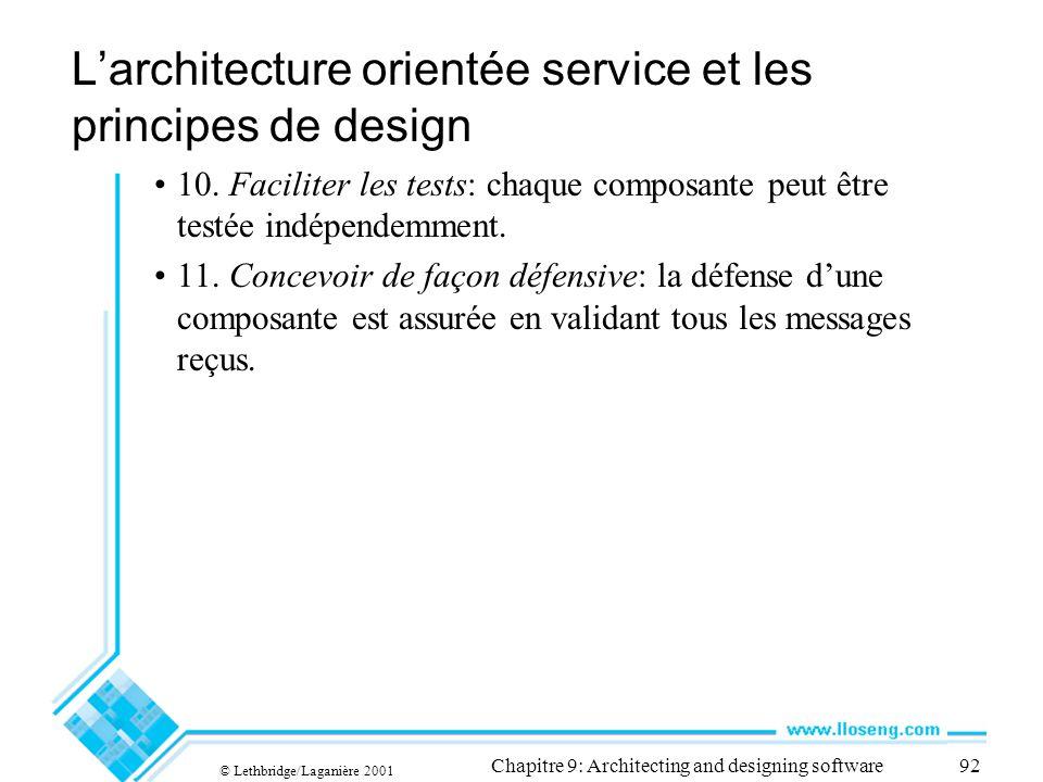 © Lethbridge/Laganière 2001 Chapitre 9: Architecting and designing software92 Larchitecture orientée service et les principes de design 10. Faciliter