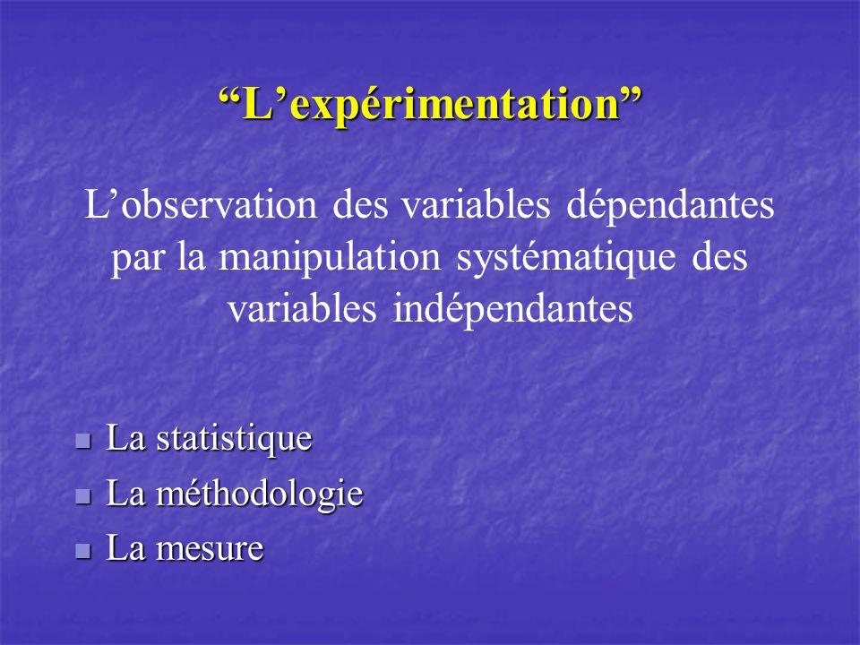 Lexpérimentation La statistique La statistique La méthodologie La méthodologie La mesure La mesure Lobservation des variables dépendantes par la manipulation systématique des variables indépendantes