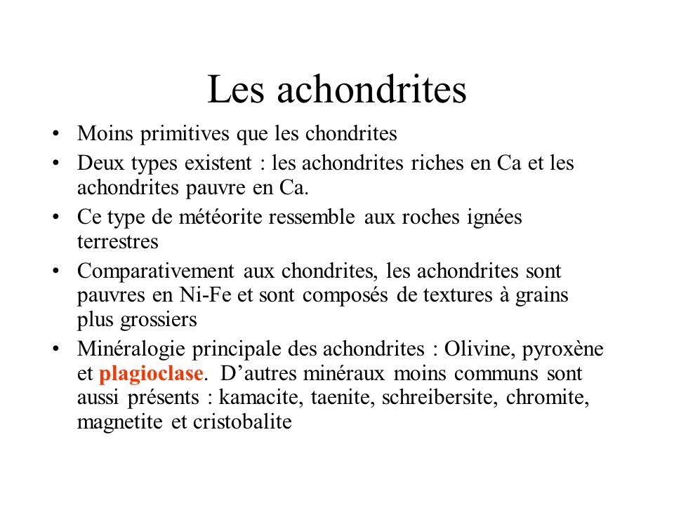 Les achondrites Moins primitives que les chondrites Deux types existent : les achondrites riches en Ca et les achondrites pauvre en Ca.