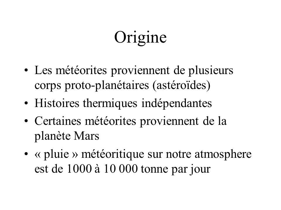 Types de météroites Six types ou sources distinctes de météorites ont été identifiées avec laide des isotopes de loxygène : 1.Les chondrites (Lithique, presence de chondrules) 2.Les achondrites (Lithique, sans chondrules) 3.Les sidérites (métalique – Fe/Ni) 4.Les sidérolithes (Lithique et métalique – Fe/Ni) 5.Le groupe terrestre (terre et lune) -tektites 6.Météorites de Mars (SNC – Shergotty-Nakhla- Chassigny)