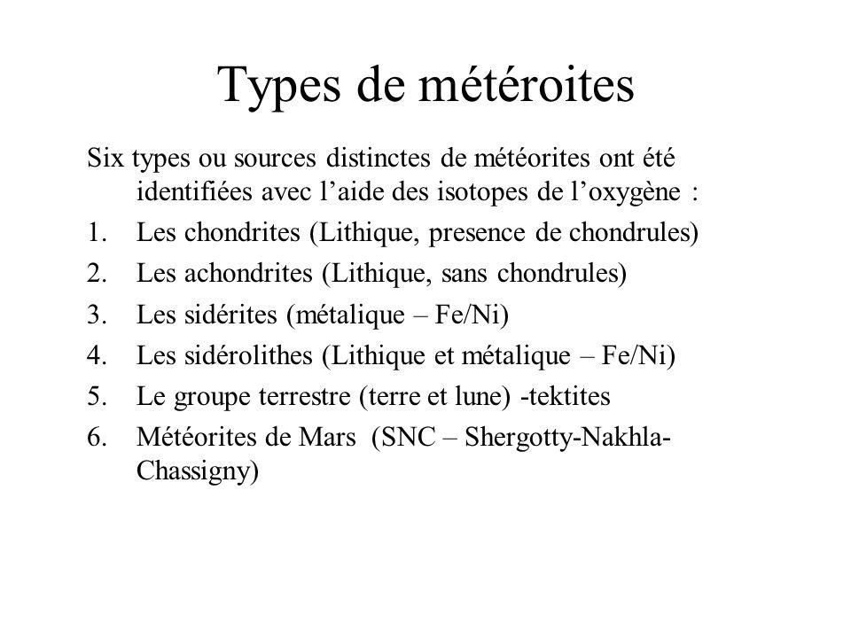 Les sidérites (iron meteorites) Ce type de météorite est généralement composé de plus de 90% de métaux (composition moyenne de 98 % de métaux).