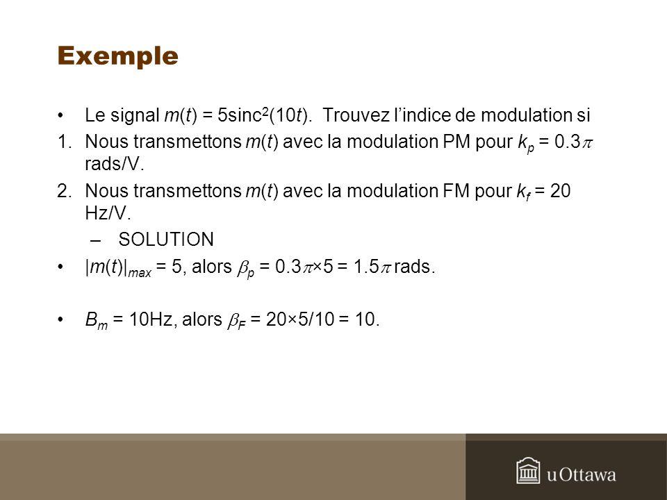 Exemple Le signal m(t) = 5sinc 2 (10t). Trouvez lindice de modulation si 1.Nous transmettons m(t) avec la modulation PM pour k p = 0.3 rads/V. 2.Nous