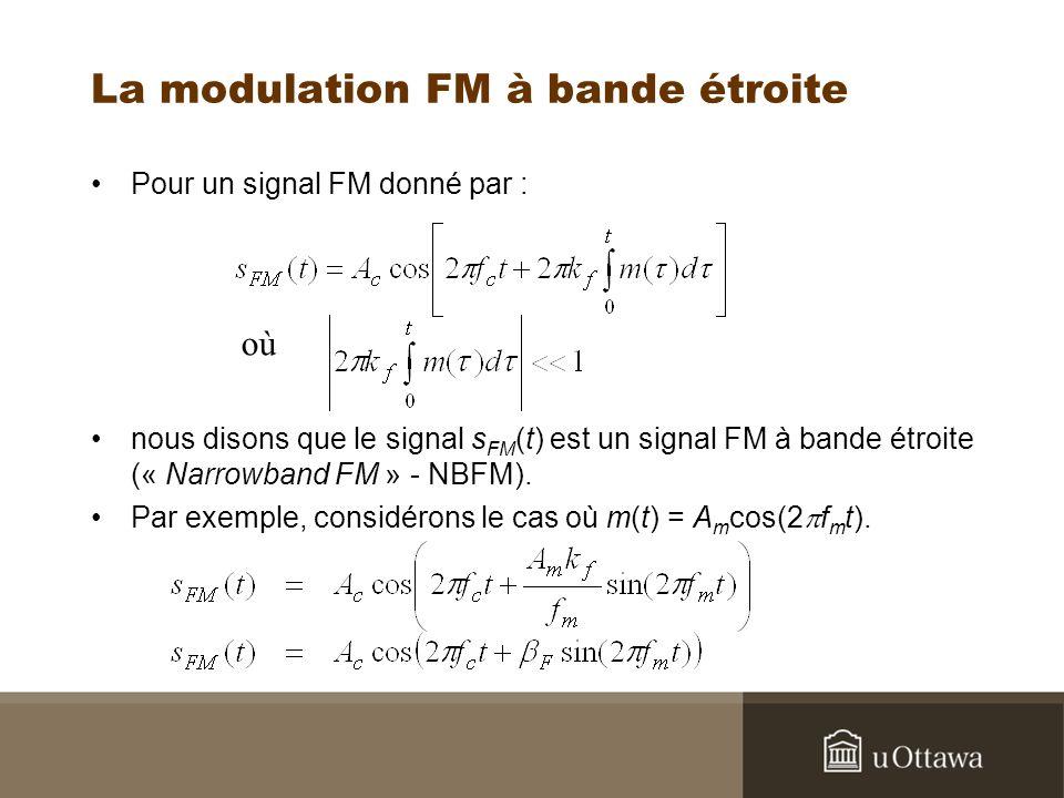 La modulation FM à bande étroite Pour un signal FM donné par : nous disons que le signal s FM (t) est un signal FM à bande étroite (« Narrowband FM »
