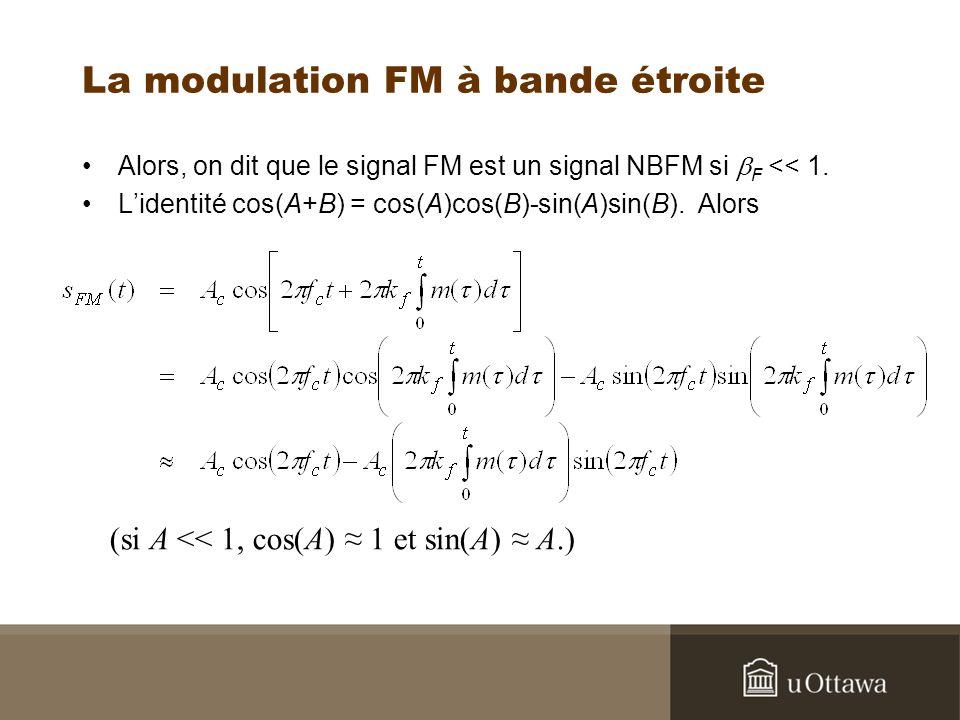La modulation FM à bande étroite Alors, on dit que le signal FM est un signal NBFM si F << 1. Lidentité cos(A+B) = cos(A)cos(B)-sin(A)sin(B). Alors (s
