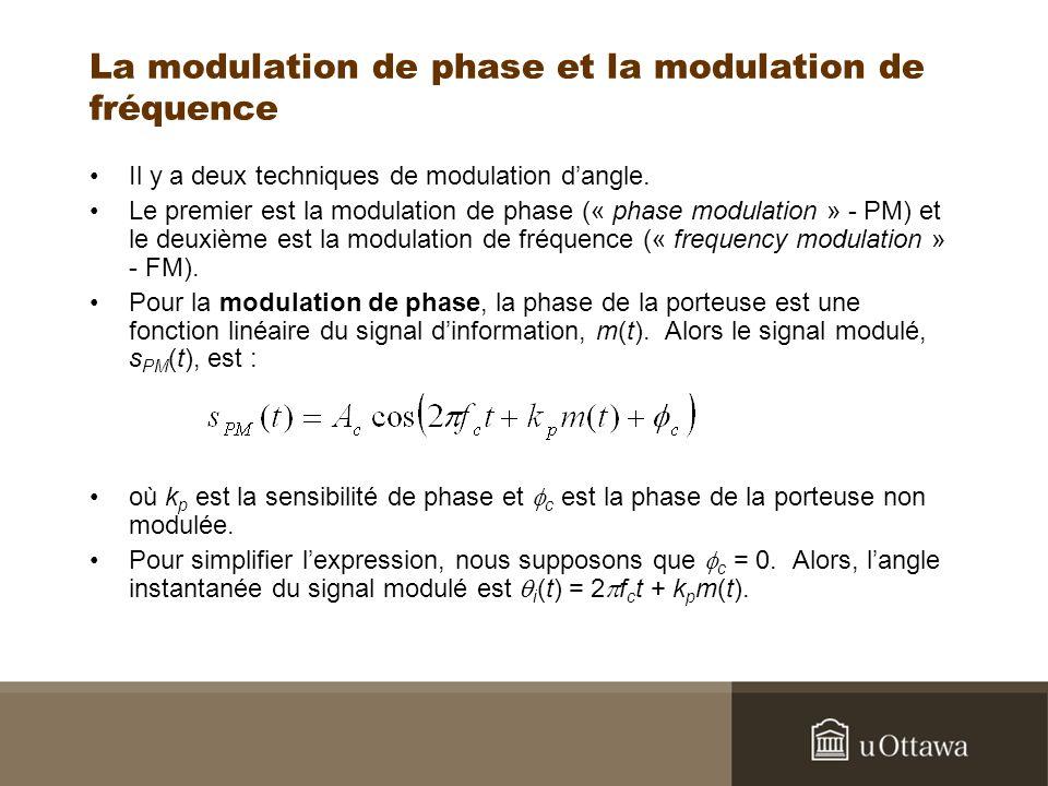 La modulation de phase et la modulation de fréquence Il y a deux techniques de modulation dangle. Le premier est la modulation de phase (« phase modul
