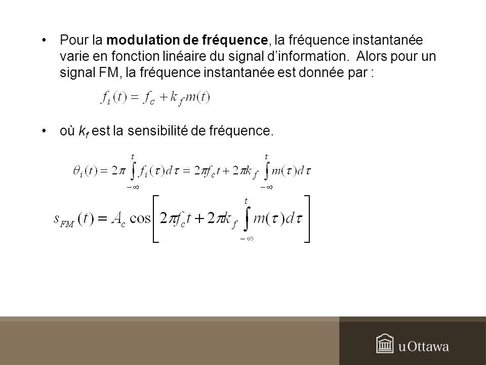 Pour la modulation de fréquence, la fréquence instantanée varie en fonction linéaire du signal dinformation. Alors pour un signal FM, la fréquence ins