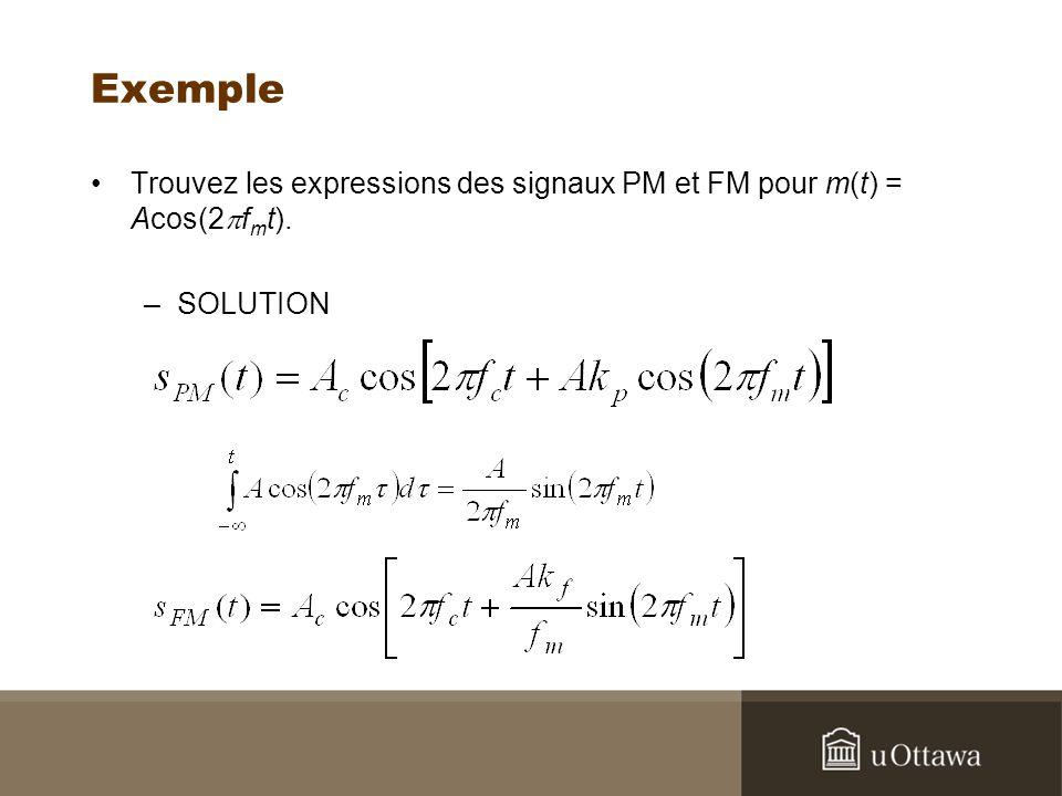 Exemple Trouvez les expressions des signaux PM et FM pour m(t) = Acos(2 f m t). –SOLUTION