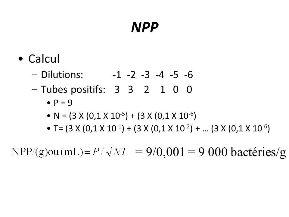 NPP Calcul –Dilutions: -1 -2 -3 -4 -5 -6 –Tubes positifs: 3 3 2 1 0 0 P = 9 N = (3 X (0,1 X 10 -5 ) + (3 X (0,1 X 10 -6 ) T= (3 X (0,1 X 10 -1 ) + (3 X (0,1 X 10 -2 ) + … (3 X (0,1 X 10 -6 ) = 9/0,001 = 9 000 bactéries/g