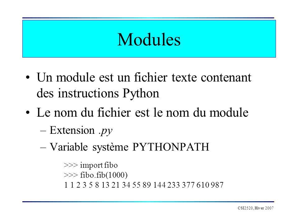 Modules Un module est un fichier texte contenant des instructions Python Le nom du fichier est le nom du module –Extension.py –Variable système PYTHON
