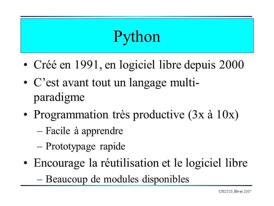 Python Créé en 1991, en logiciel libre depuis 2000 Cest avant tout un langage multi- paradigme Programmation très productive (3x à 10x) –Facile à appr