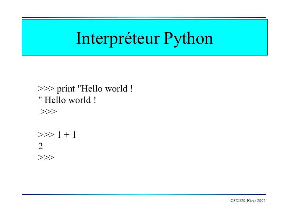 Interpréteur Python CSI2520, Hiver 2007 >>> print