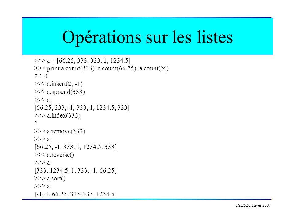 Opérations sur les listes CSI2520, Hiver 2007 >>> a = [66.25, 333, 333, 1, 1234.5] >>> print a.count(333), a.count(66.25), a.count('x') 2 1 0 >>> a.in