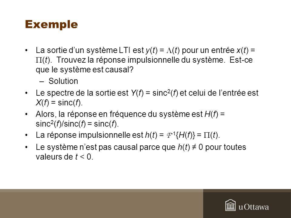 Exemple La sortie dun système LTI est y(t) = (t) pour un entrée x(t) = (t). Trouvez la réponse impulsionnelle du système. Est-ce que le système est ca